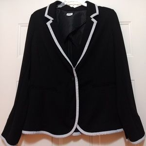 Black with white piping blazer